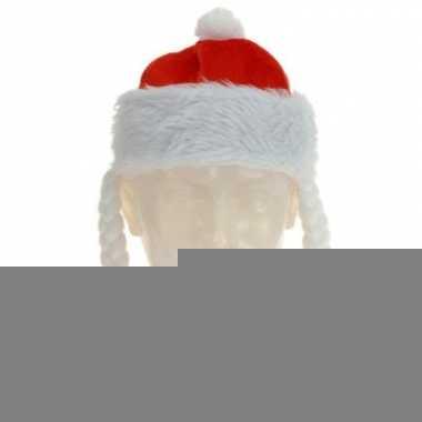 Rode kerstmuts met vlechten