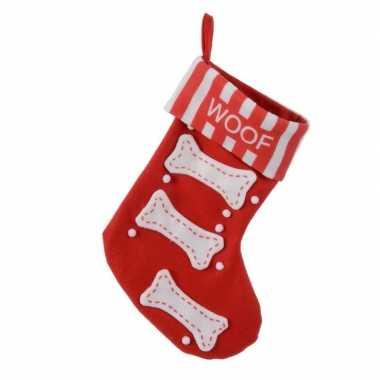Rode kerstsok voor de hond 40 cm
