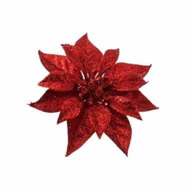 Rode kerstster met glitters op clip 18 cm - kerstversiering