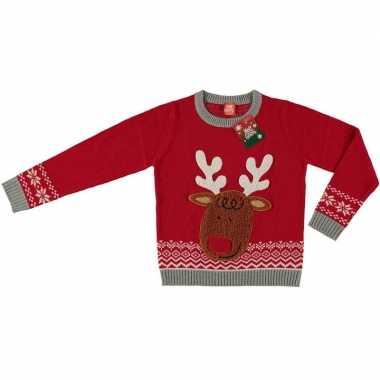 Rode kersttrui rendier voor kinderen