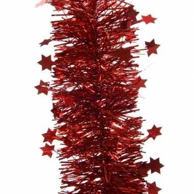 Rode kerstversiering folie slinger met ster 270 cm
