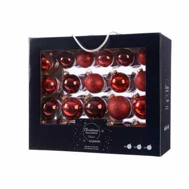 Rode kerstversiering kerstballen set 42 delig van glas