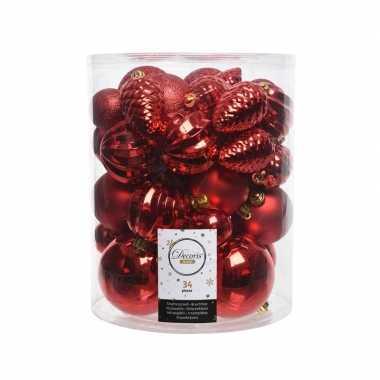 Rode kerstversiering kerstballenset 34 stuks