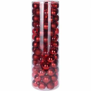 Rode kerstversiering kerstballenset kunststof 6 cm