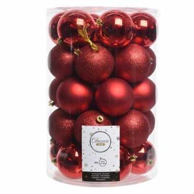 Rode kerstversiering kerstballenset kunststof 8 cm