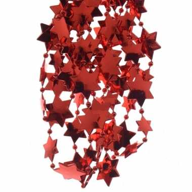 Rode kerstversiering ster kralenslinger 270cm