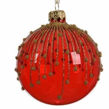 Rode kerstversiering transparante kerstballen van glas 8 cm