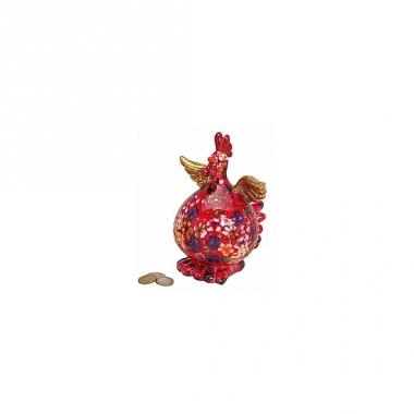 Rode kip spaarpot met bloemen
