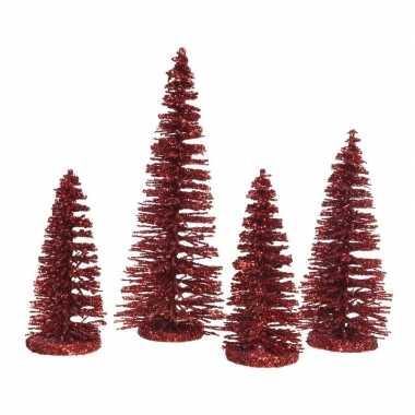 Rode kleine kunst kerstboom glitter 15 cm 4 stuks
