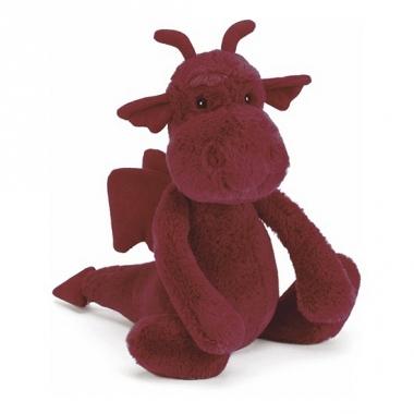 Rode knuffel draak 26 cm