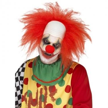 Rode korte clownspruik voor volwassenen