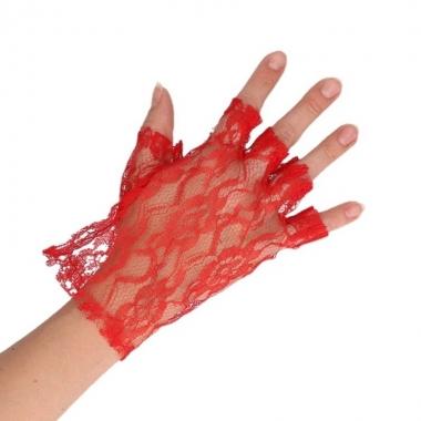 Rode korte kanten handschoenen voor dames