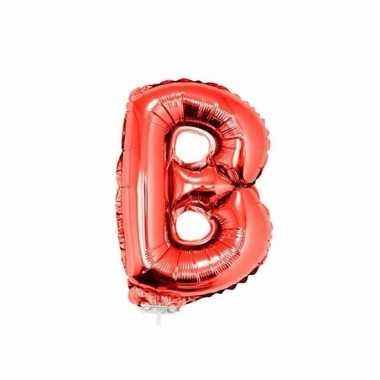 Rode letterballon b op stokje 41 cm