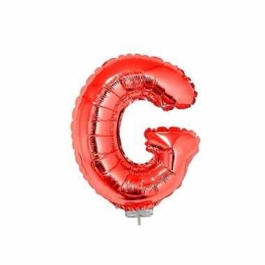 Rode letterballon g op stokje 41 cm