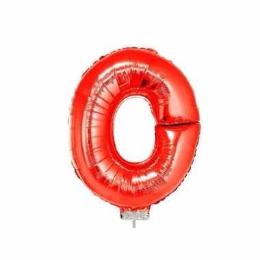 Rode letterballon o op stokje 41 cm