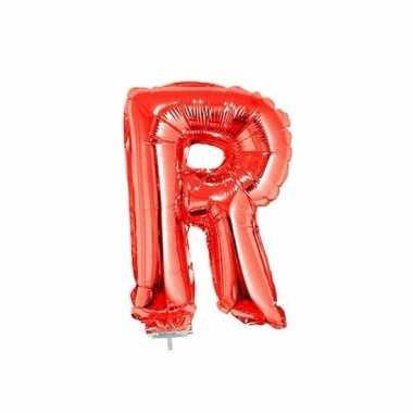 Rode letterballon r op stokje 41 cm