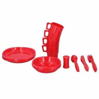 Rode picknick set voor 4 personen
