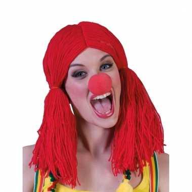 Rode pruik voor clowns
