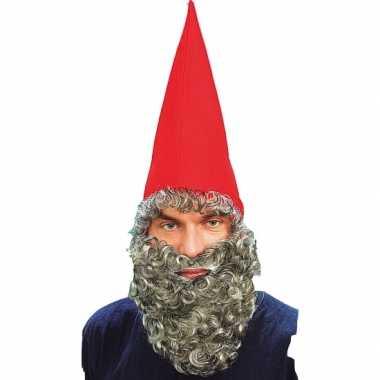 Rode puntmuts met grijze baard