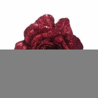 Rode roos met glitters op clip 10 cm - kerstversiering