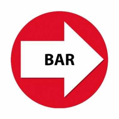Rode route aanduiding stickers bar