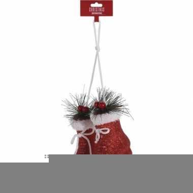 Rode schaatsen kerstversiering hangdecoratie 12 cm