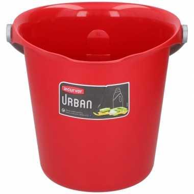 Rode schoonmaak/huishoudemmer 9 liter