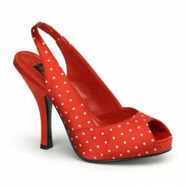 Rode slingbak pumps met peep toe