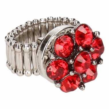 Rode steentjes chunk ring voor volwassenen