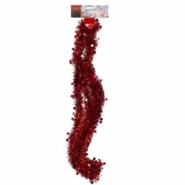 Rode tinsel kerstslinger 270 cm