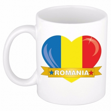 Roemeense vlag hartje theebeker 300 ml