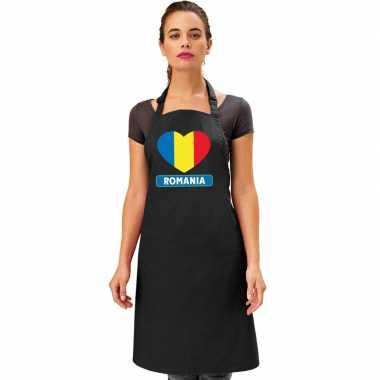 Roemenie hart vlag barbecueschort/ keukenschort zwart