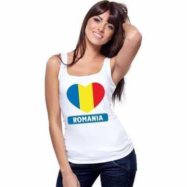 Roemenie hart vlag singlet shirt/ tanktop wit dames