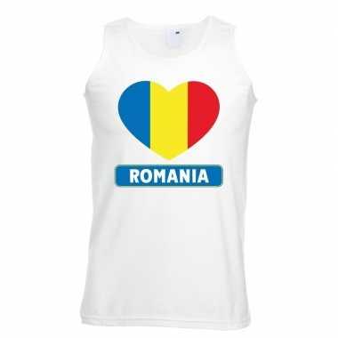 Roemenie hart vlag singlet shirt/ tanktop wit heren