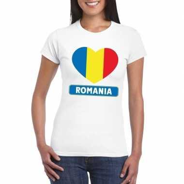 Roemenie hart vlag t-shirt wit dames