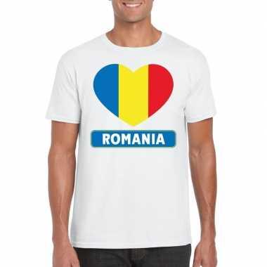 Roemenie hart vlag t-shirt wit heren