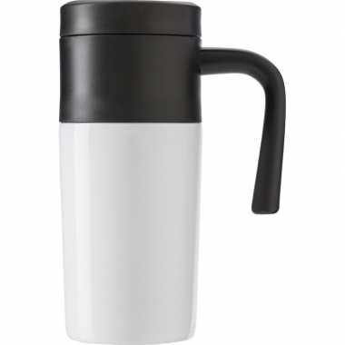 Roestvrijstalen thermos/isoleer reisbeker 330 ml wit