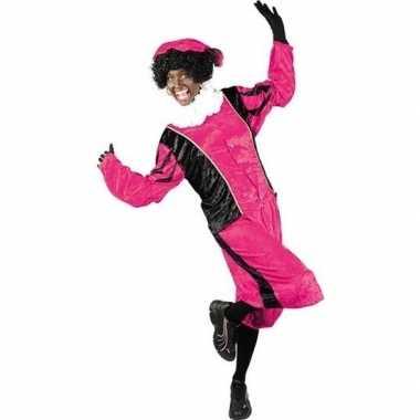 Roetveeg pieten kostuum roze/zwart voor volwassenen