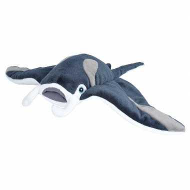 Roggen speelgoed artikelen mantarog knuffelbeest grijs 35 cm
