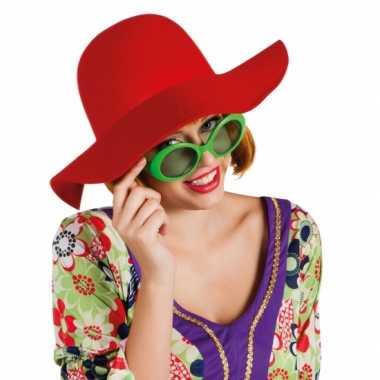 Ronde dames hoed rood