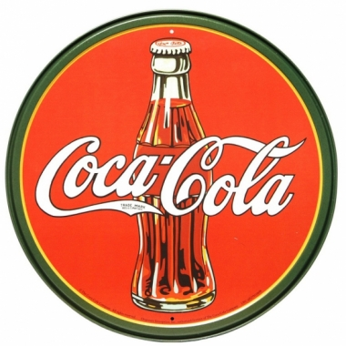 Ronde metalen wandplaat coca cola