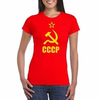 Rood cccp / sovjet-unie t-shirt voor dames