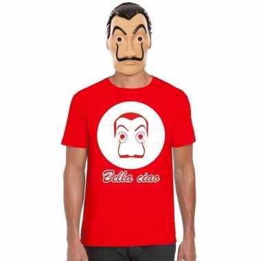 Rood dali t-shirt met la casa de papel masker heren