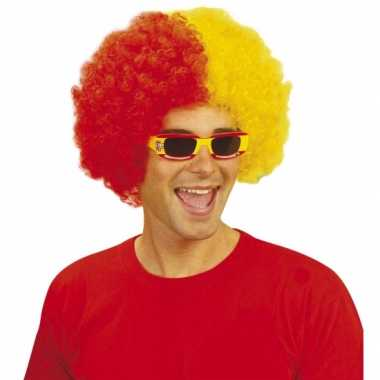 Rood geel feestpruiken afro