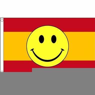 Rood gele vlag met smiley 90 x 150 cm