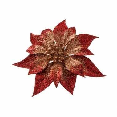 Rood/gouden kerstster met glitters op clip 18 cm