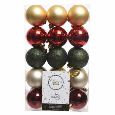 Rood/groen/gouden kerstversiering kerstballenset kunststof 6 cm