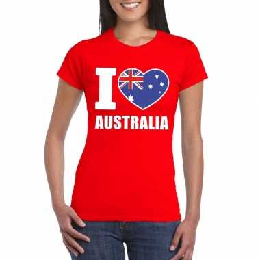 Rood i love australie fan shirt dames