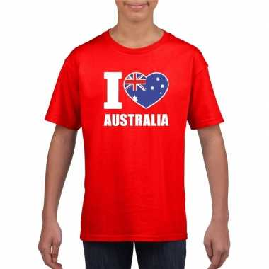 Rood i love australie fan shirt kinderen