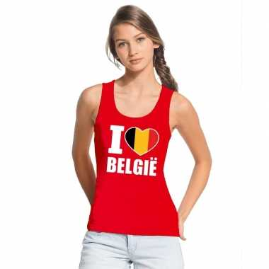 Rood i love belgie fan singlet shirt/ tanktop dames
